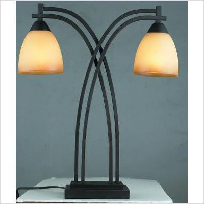 Gen-Lite 103993 2 Lt Street Light Table Lamp with Glass Shade - PeazzLighting