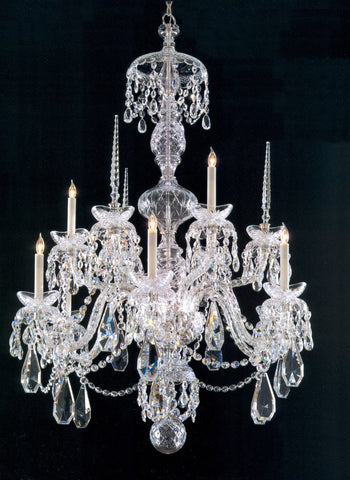 Crystorama 5070-CH-CL-MWP 9-Lights Traditional Crystal All Glass Arm Chandelier - Chrome - PeazzLighting