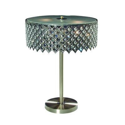 Gen-Lite 104330AG Three Light Antique Gold Table Lamp With Crystals - PeazzLighting