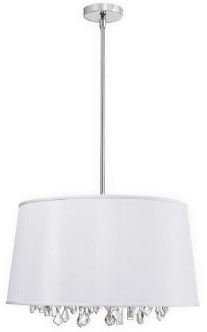 Dainolite 6 Lite Crystal Pendant Baroness White/Silver Shade 30 Strands Crystal BAR2111-693-PC - PeazzLighting