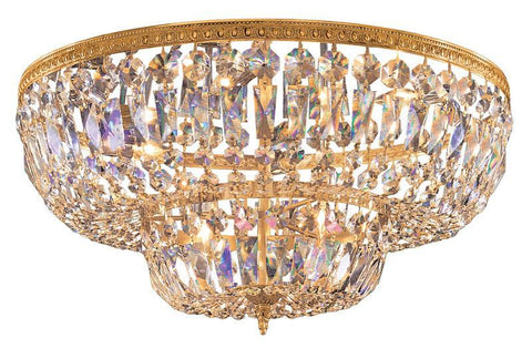 Crystorama 724-OB-CL-SAQ 6-Lights Swarovski Spectra Crystal Basket - Olde Brass - PeazzLighting