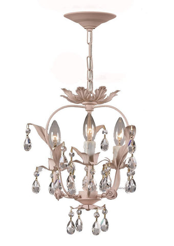 Crystorama Paris Flea Market Handpainted Wrought Iron Floral Mini Chandelier 3 Lights - Blush - 5823-BH - PeazzLighting