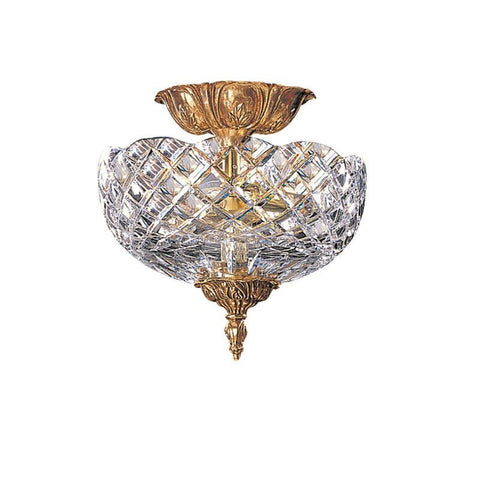Crystorama 66-CT-OB 2-Lights 24% Lead Crystal Cast Brass Semi-Flush Mount - Olde Brass - PeazzLighting