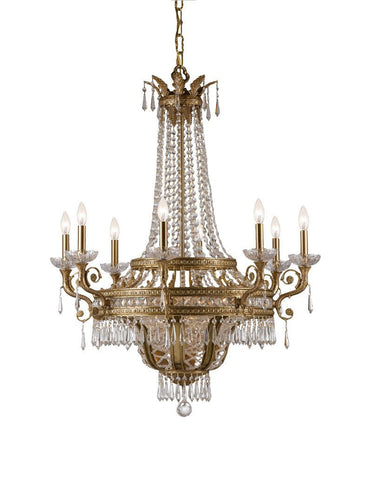 Crystorama Solid Brass Hand Cut Lead Crystal Chandelier 8 Lights - Aged Brass - 5158-AG-CL-MWP - PeazzLighting