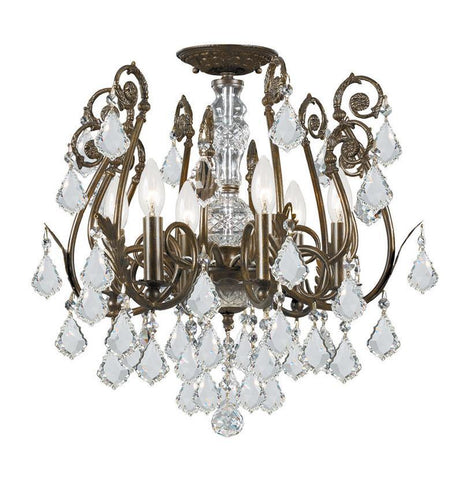 Crystorama 5115-EB-CL-MWP 6-Lights Clear Hand Cut Crystal Wrought Iron Chandelier - English Bronze - PeazzLighting