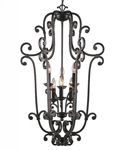Z-Lite Chateau Collection Dark Bronze Finish 6 Light Chandelier - ZLiteStore