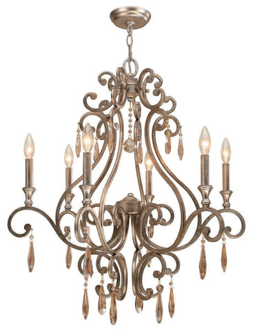 Crystorama Chandelier with the transitional finish, Distressed Twilight, and Golden Shadow hand cut crystals. 6 Lights - Distressed Twilight - 7526-DT - PeazzLighting
