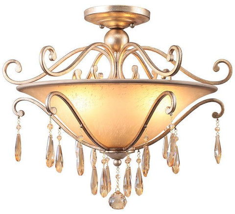 Crystorama 7525-DT Shelby 3 Light Golden Shadow Hand Cut Crystal Semi-Flush - PeazzLighting