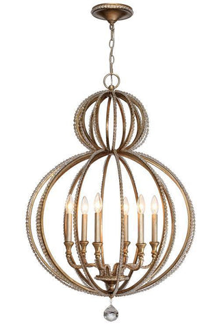 Crystorama 6766-DT Garland 6 Light Distressed Twilight Crystal Beads Chandelier - PeazzLighting