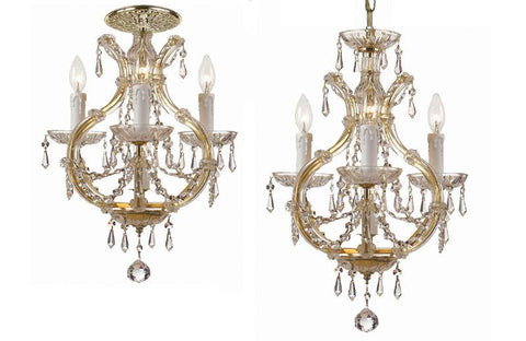 Crystorama Maria Theresa Mini Chandelier Draped in Swarovski Spectra Crystal 3 Lights - Gold - 4473-GD-CL-SAQ - PeazzLighting