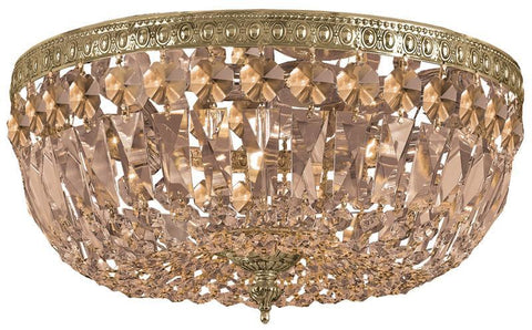 Crystorama 714-OB-GTS 3-Lights Golden Teak Swarovski Elements Crystal Basket - Olde Brass - PeazzLighting