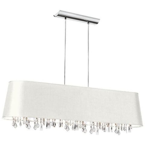 Dainolite 5 Lite Crystal Pendant Baroness White/Silver Shade 17 Strands Crystal BAR4410-693-PC - PeazzLighting