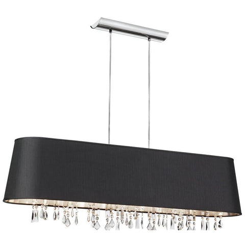 Dainolite 5 Lite Crystal Pendant Baroness Black/Silver Shade 17 Strands Crystal BAR4410-694-PC - PeazzLighting