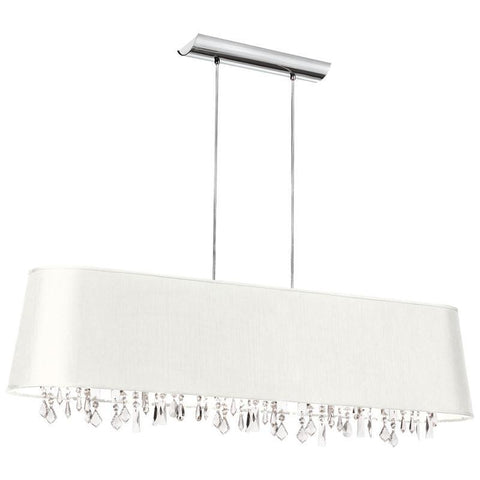 Dainolite 5 Lite Crystal Pendant Jewel Tone White Shade 17 Strands Crystal BAR4410-790-PC - PeazzLighting