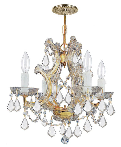 Crystorama Maria Theresa Chandelier Draped in Swarovski Spectra Crystal 4 Lights - Gold - 4474-GD-CL-SAQ - PeazzLighting
