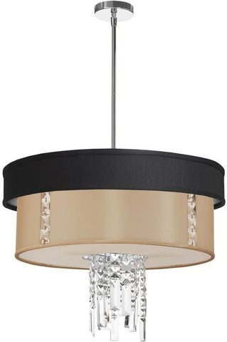 Dainolite 3 Lite  Polished Chrome Crystal Pendant With Black/Silver & Cream Shade With 840 Diffuser RITA-24-3-PC-694-839 - PeazzLighting