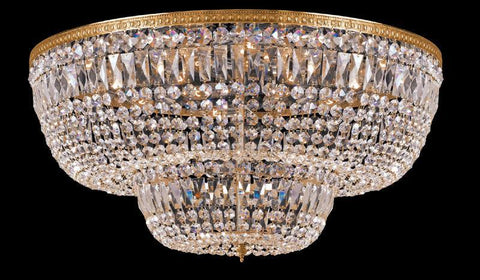 Crystorama 748-OB-CL-SAQ 24-Lights Swarovski Spectra Crystal Basket - Olde Brass - PeazzLighting