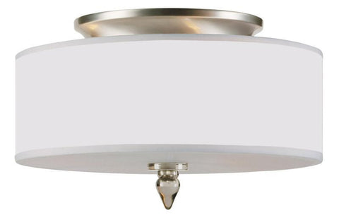 Crystorama 9503-SN 3-Lights Satin Nickel Finish Semi-Flush With Silver Silk Shimmer Shade - Satin Nickel - PeazzLighting
