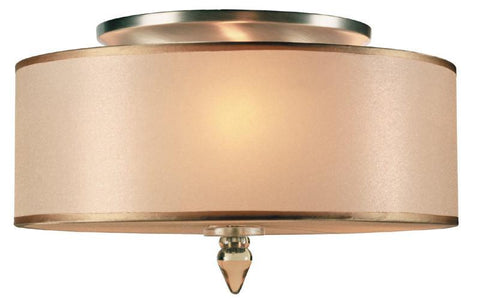 Crystorama 9503-AB 3-Lights Antique Brass Semi-Flush With Light Gold Silk Shade - Antique Brass - PeazzLighting