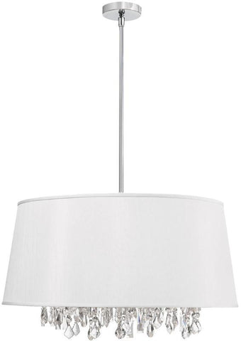 Dainolite 8 Lite Crystal Pendant Baroness White/Silver Shade 38 Strands Crystal BAR2511-693-PC - PeazzLighting