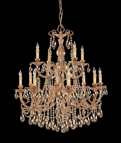 Crystorama Ornate Cast Brass Chandelier Accented with Golden Teak Strass Crystal 8 Lights - Olde Brass - 479-OB-GTS - PeazzLighting