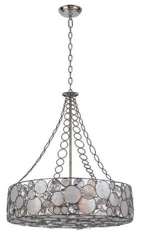 Crystorama Chandelier, large pendant. Antique Silver finish pared with Clear crystal and Capiz shell accents. 8 Lights - Antique Sliver - 528-SA - PeazzLighting