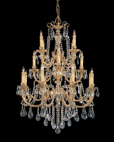 Crystorama Ornate Cast Brass Chandelier Accented with Swarovski Elements Crystal 8 Lights - Olde Brass - 480-OB-CL-S - PeazzLighting