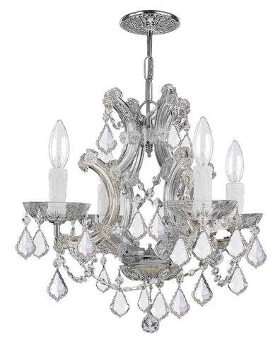 Crystorama Maria Theresa Chandelier Draped in Swarovski Spectra Crystal 4 Lights - Polished Chrome - 4474-CH-CL-SAQ - PeazzLighting