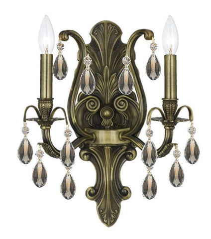 Crystorama 5563-AB-GTS 2-Lights Golden Teak Swarovski Elements Wall Mount - Antique Brass - PeazzLighting