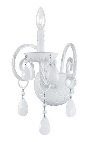 Crystorama 1071-WW-WH-MWP 1-Lights All White Glass Arm Wall Sconce - Wet White - PeazzLighting
