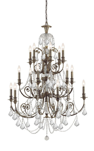 Crystorama Clear Hand Cut Crystal Wrought Iron Chandelier 18 Lights - English Bronze - 5117-EB-CL-MWP - PeazzLighting
