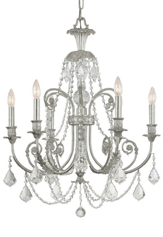 Crystorama Clear Swarovski Spectra Crystal Wrought Iron Chandelier 6 Lights - Olde Silver - 5116-OS-CL-SAQ - PeazzLighting