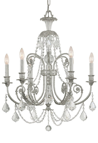 Crystorama Clear Swarovski Elements Crystal Wrought Iron Chandelier 6 Lights - Olde Silver - 5116-OS-CL-S - PeazzLighting