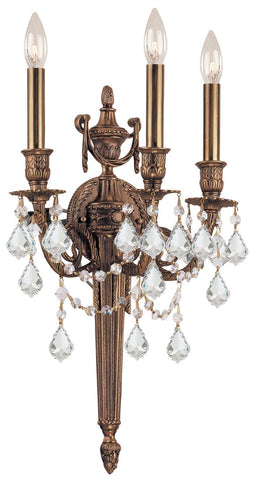 Crystorama 753-MB-CL-SAQ 3-Lights Ornate Cast Wall Sconce With Clear Swarovski Spectra Crystal - Matte Brass - PeazzLighting