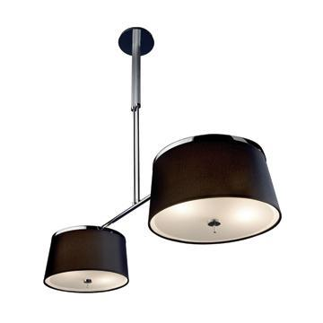 Jesco Lighting PD618-2B LEILA is a timeless classic suite featuring a beautiful black or white shade accented with a two-tone chrome and satin chrome finishes