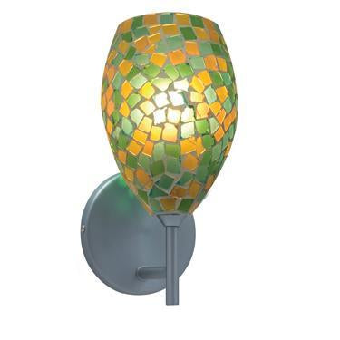 Jesco Lighting WS232-GNYW/SN The MOZ is a series of teardrop shaped glass finished by various combinations of mosaic chips, creating a beautiful myriad of colors