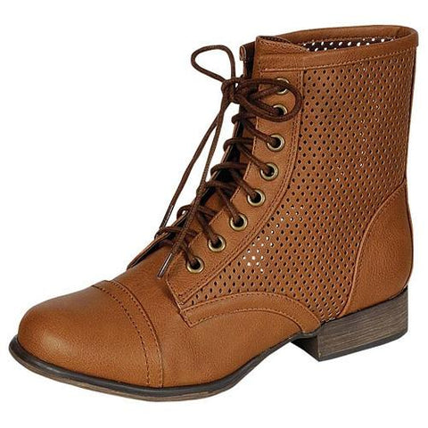Georgia-45 Perforated Military Lace Up Bootie - Peazz.com