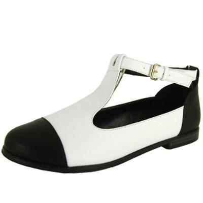 Strip-114 Two Tone Round Toe Flat - Peazz.com
