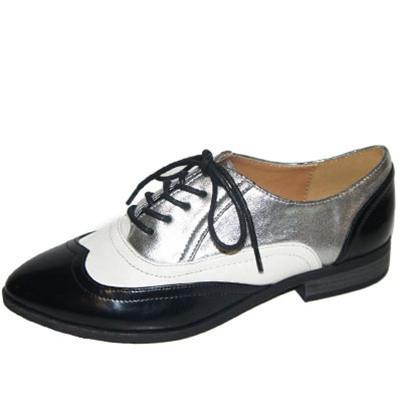 Tuxedo-11 Tri-Tone Lace Up Oxford Flat - Peazz.com