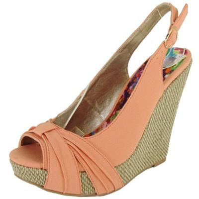 Glory-28 Pleated Peep Toe Slingback Wedge - Peazz.com