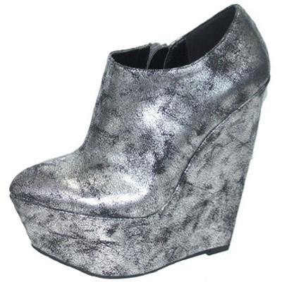 STUCKUP-02 Distressed Metallic Platform Wedge Bootie - Peazz.com