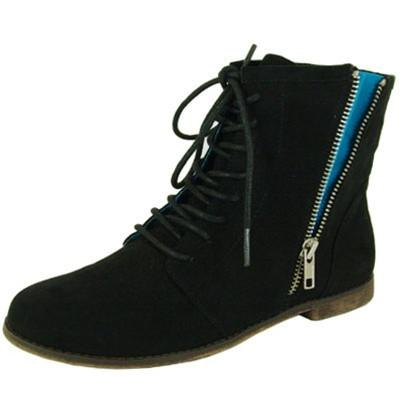 Strip-76 Exposed Zipper Lace Up Bootie - Peazz.com