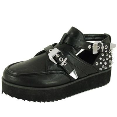 Tiki-05 Studded Spike Buckle Flatform Creeper - Peazz.com