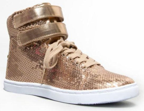 TRIVIA-61BX Sequin Lace Up Double Velco Sneaker Shoes - Peazz.com