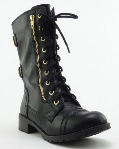 Dome-SA Vegan Lace Up Mid Calf Women Military Boot - Peazz.com