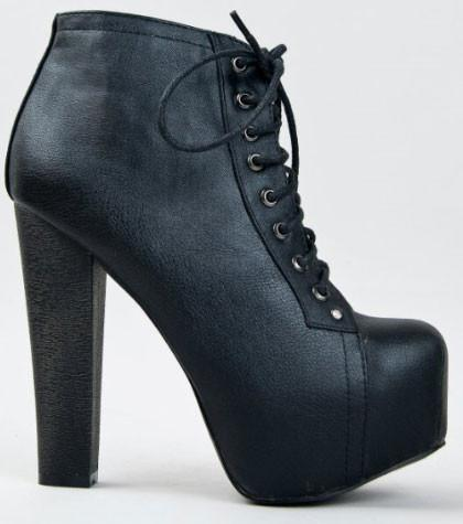 BRITNEY-02 Lace Up Wooden Chunky High Heel Ankle Bootie - Peazz.com