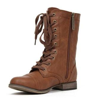 Georgia-21 Leather Lace Up Round Toe Mid-Calf Military Combat Boot - Peazz.com