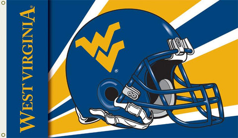 West Virginia Mountaineers 3 Ft. X 5 Ft. Flag W/Grommets - Helmet Design - Peazz.com