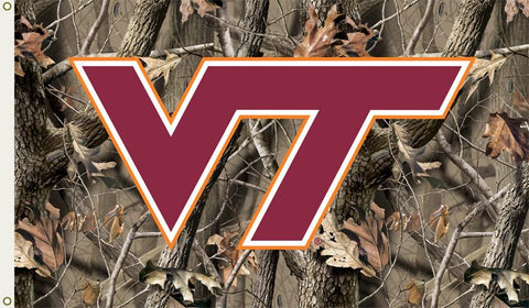 Virginia Tech Hokies 3 Ft. X 5 Ft. Flag W/Grommets - Realtree Camo Background - Peazz.com