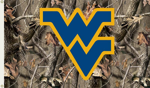 West Virginia Mountaineers 3 Ft. X 5 Ft. Flag W/Grommets - Realtree Camo Background - Peazz.com